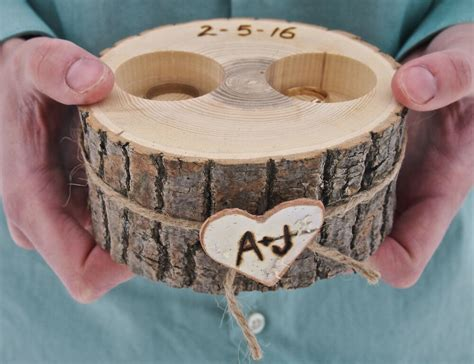 personalized wooden ring holder ring bearer brown rustic country wedding ebay