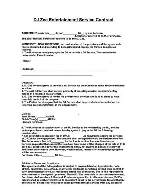 dj contract agreement template sampletemplatess