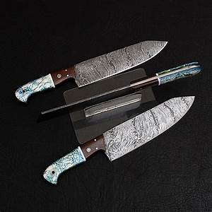 Damascus, Chef, Knife, Set, 3, Piece, Set, -, Black, Forged, Knives