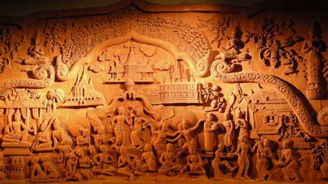 artwork thai panels wood carving wallpaper