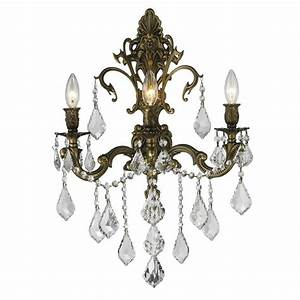shop worldwide lighting 17 in w 3 light bronze crystal With kitchen cabinets lowes with crystal wall sconce candle holder