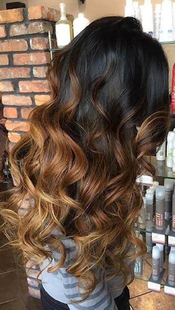 caramel brown balayage highlights  dark hair stayglam