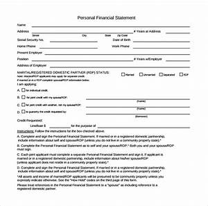 Personal Net Worth Template Free 14 Personal Financial Statement Forms In Pdf
