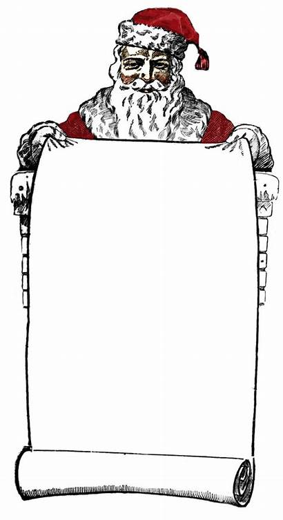 Santa Victorian Clip Graphics Clipart Holder Scroll