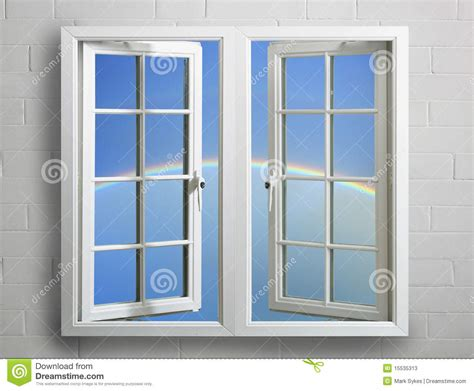 Fenster Weiss by Modern White Window Frame With Sky And Rainbow Stock Image