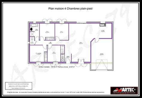plan maison 4 chambres plain pied plan de maison de plain pied 4 chambres