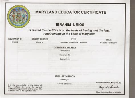 bureau of educator certification maryland department of education certification areas