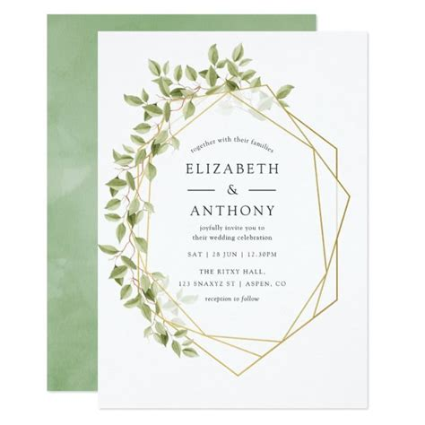 Watercolor Greenery Geometric Wedding Invitation Zazzle