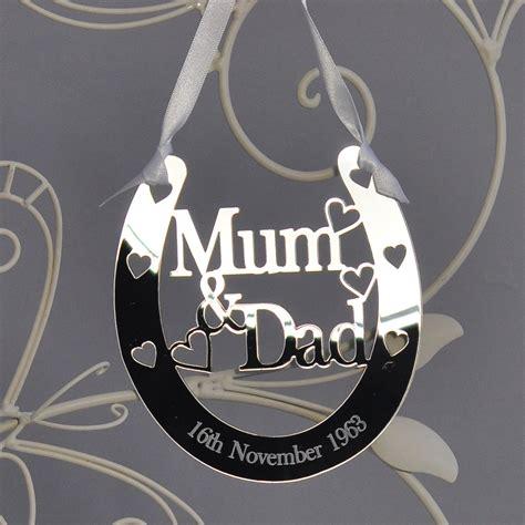 personalised mum dad lucky horseshoe bridal  wedding anniversary gift silver