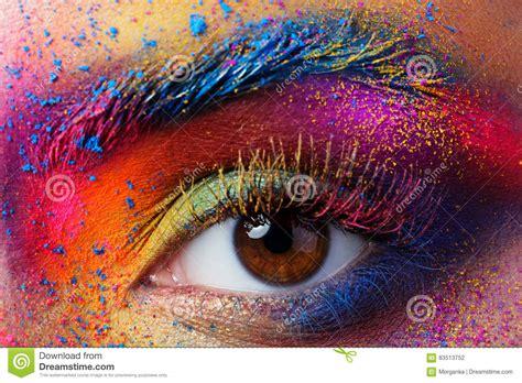 close  view  female eye  bright multicolored