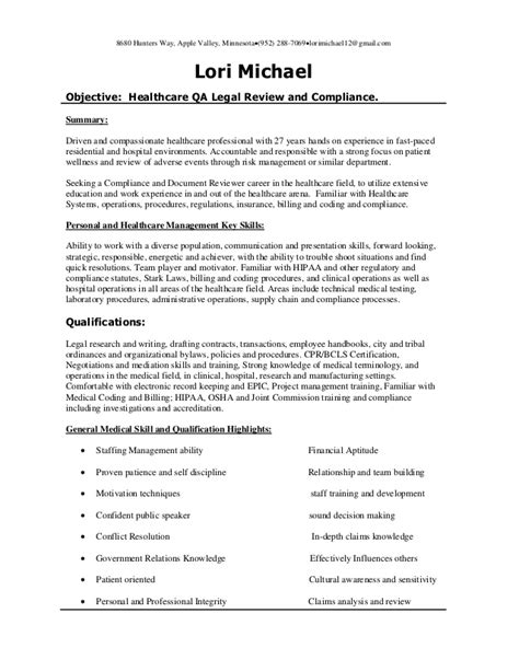 healthcare qa healthcare review and compliance resume 12