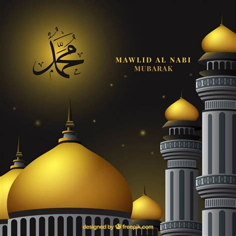 Golden Mosque Wallpaper by Background Of Mawlid Golden Mosque Vector Free