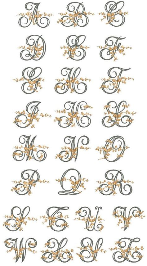 fancy floral vine monogram embroidery alphabet files  embroidery machine bx font