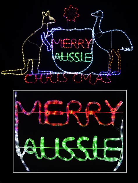 australian coat  arms merry aussie christmas led rope