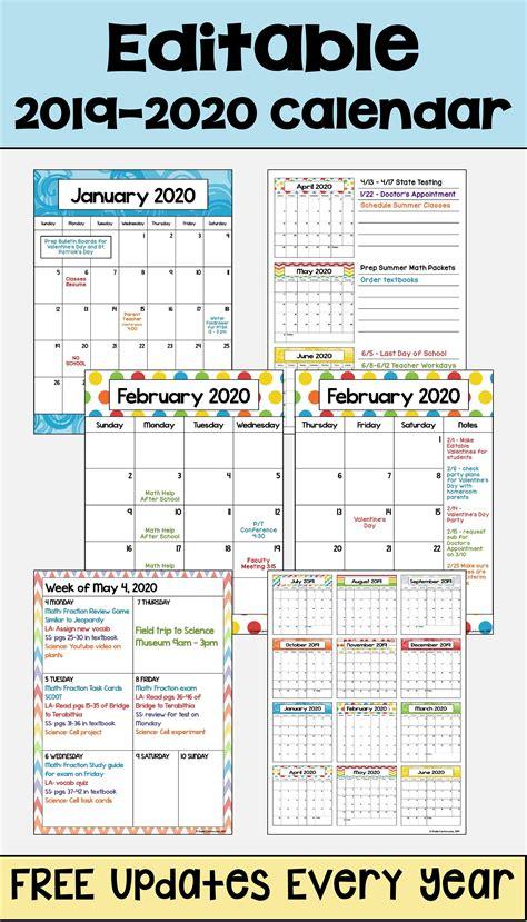 editable calendar updates bright colors