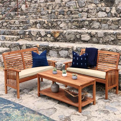 walker edison 3 acacia wood patio conversation set