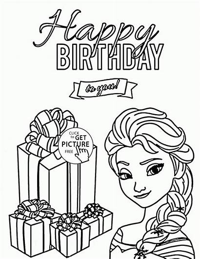 Coloring Birthday Happy Pages Elsa Frozen Printable