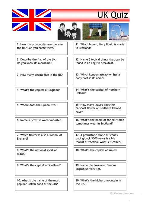 quiz uk trivia english esl worksheets  distance