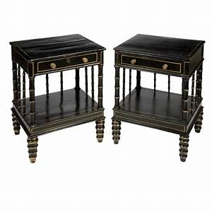 Pair, Of, Regency, Style, Gilt, Decorated, Black, Painted, Bedside, Tables, For, Sale, At, Auction, On, Wed, 10