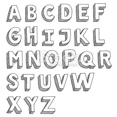 hand drawn vector drawing   sans serif alphabet