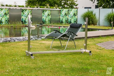 windschutz glas terrasse mobil glas windschutz auf rollen glasprofi24