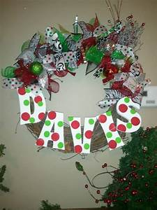 letter wreath i made wreaths by ladonna pinterest With letter christmas wreath