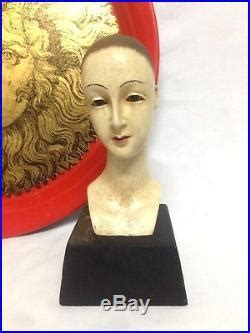 vintage elegant bust santos head demure lady wooden carved