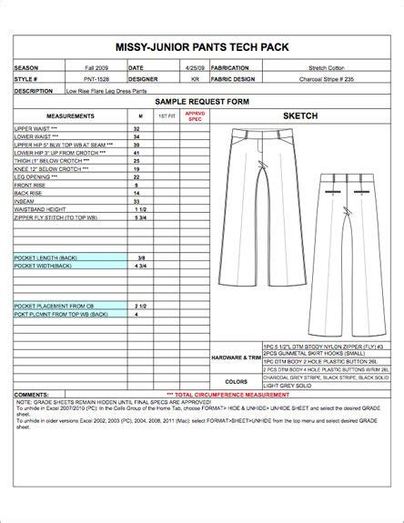 fashion apparel tech pack templates  practical skills