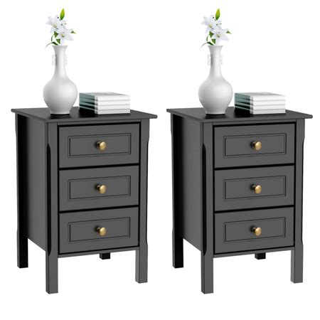 Black Set Of Drawers by Set Of 2 End Table Cabinet In Black Walmart