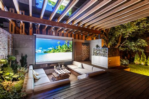 Backyard Home Theater by This Outdoor Lounge Area Is Like An Oasis In The City