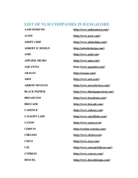List Of Vlsi Companies In Bangalore
