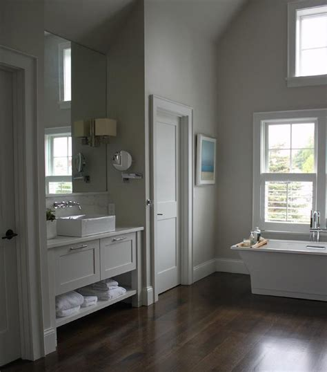 gray bathroom vanity with shelf and rectangular vessel sink transitional bathroom