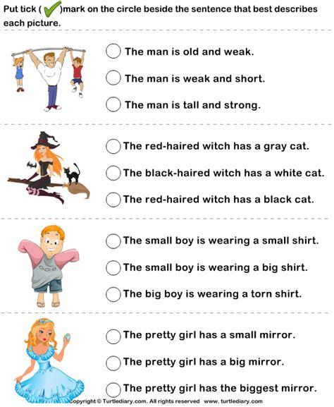 choose  sentence  describe  picture turtlediary