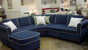Navy sectional sofa with white piping wwwenergywardennet for Navy blue sectional sofa with white piping