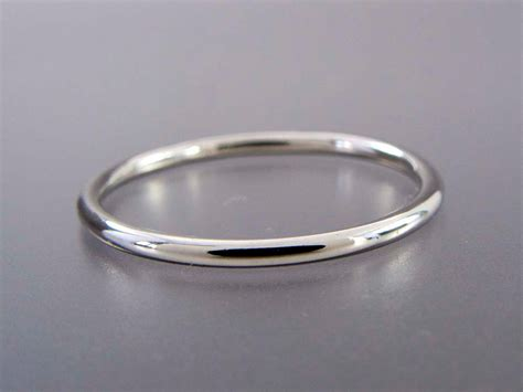 Thin Platinum Wedding Band 13mm Wide Stacking Ring Choice