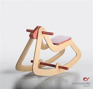 Design Rocking Horse Christmas Gift Modern Wooden Toy for