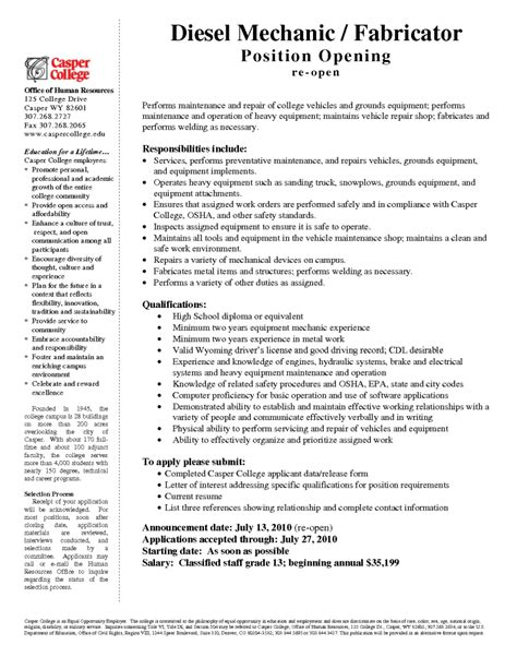 Entry Level Automotive Mechanic Resume Sle by Sle Diesel Mechanic Resume 28 Images Sle Diesel Mechanic Description 2017 2018 Best Auto