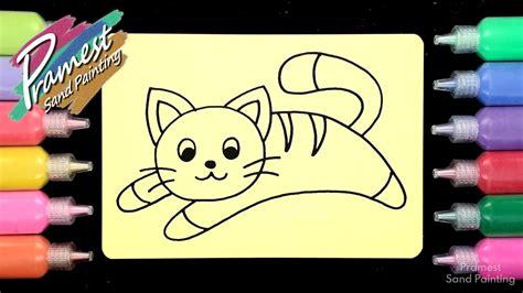 mewarnai gambar kucing dengan pasir warna sand painting