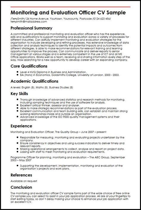 monitoring  evaluation officer cv sample myperfectcv