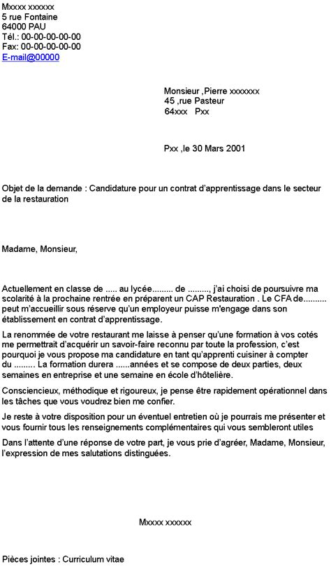 apprentissage cuisine lettre de motivation apprentissage cuisine 100 images