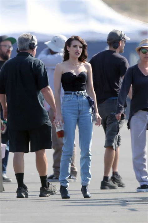 emma roberts spotted on set of her hit show american ...