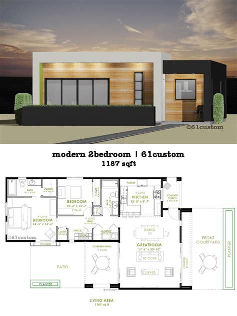 2 modern house plans modern 2 bedroom house plan 61custom contemporary