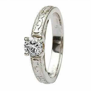 claddagh celtic solitaire diamond 14k white gold With claddagh wedding rings with diamonds