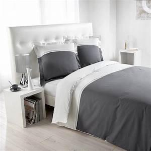 Parure De Lit Gris : parure de lit 3 pi ces duoline 220x240cm blanc gris ~ Teatrodelosmanantiales.com Idées de Décoration