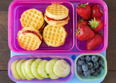 9 school lunches for picky eaters purewow 556 | pbj waffles