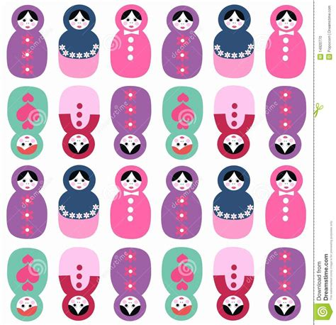 russian dolls seamless pattern stock photo image