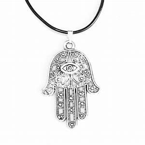 Hamsa Symbol Evil Eye Hand Charm Pendant Black Rubber ...