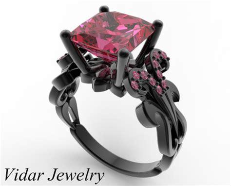 Black Gold Princess Cut Pink Sapphire Engagement Ring