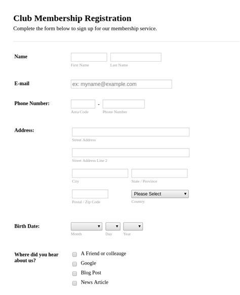 email membership card template membership forms form templates jotform
