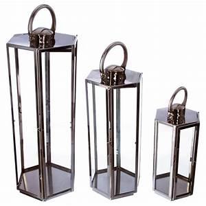 Lanterne Deco Interieur : lot de 3 lanternes ext rieur 69cm argent ~ Teatrodelosmanantiales.com Idées de Décoration